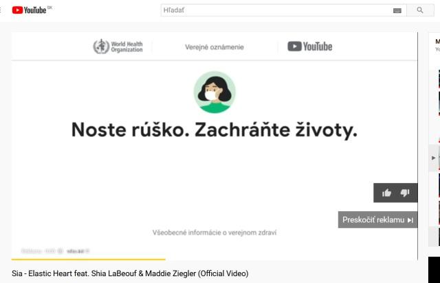 Youtube namiesto reklamy upozornenie na Covid-19 opatrenia